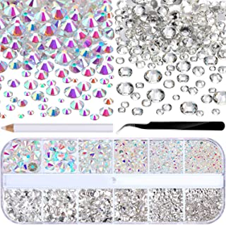 2000 Pieces Flat Back Gems Round Crystal Rhinestones 6 Sizes (1.5-6 mm) with Pick Up Tweezer and Rhinestones Picking Pen f...