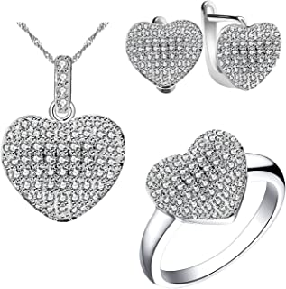 Uloveido Fashion Pave AAA Cubic Zirconia Love Heart Shape Pendant Necklace Clip On Earrings and Ring Wedding Jewelry Sets for Women T004