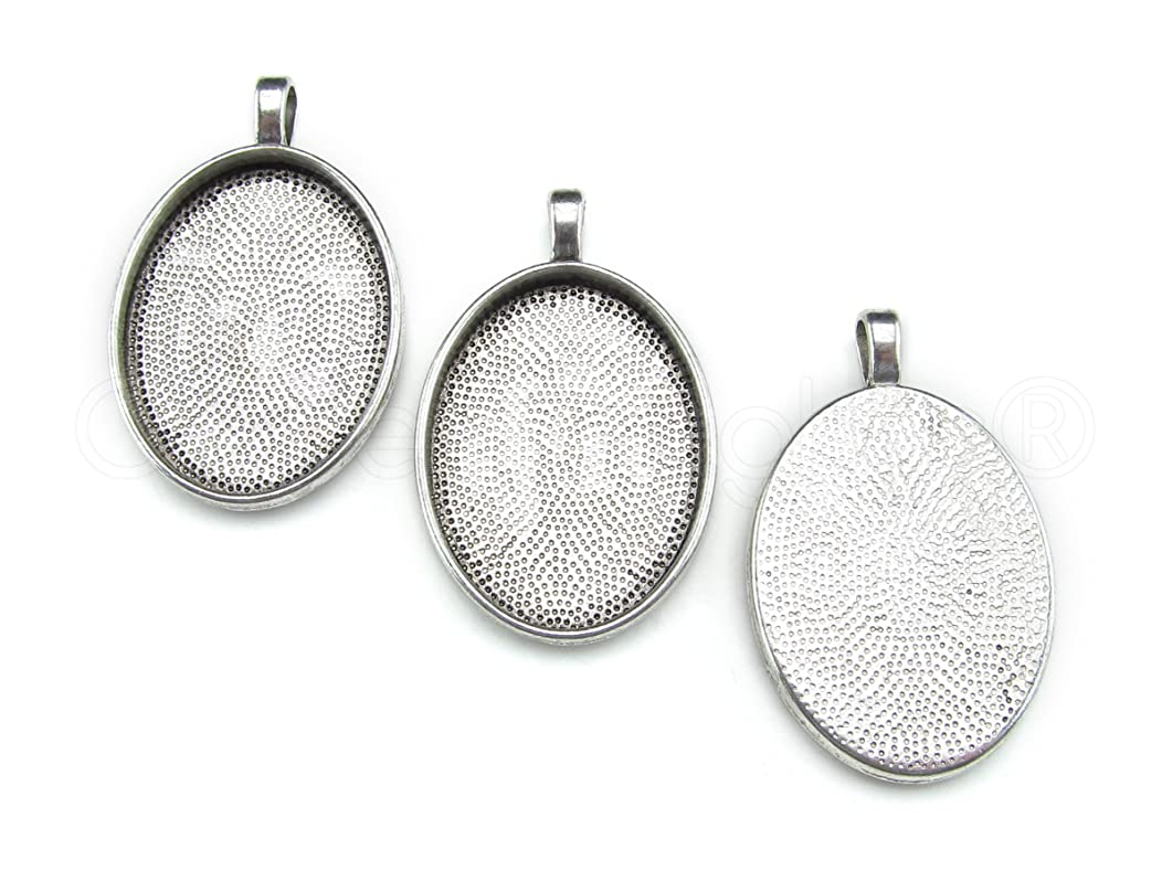 20 CleverDelights Oval Pendant Trays - Antique Silver Color - 22 x 30 mm - Pendant Blanks Cameo Bezel Settings - Custom Jewelry Making 22x30mm