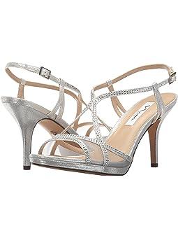 Silver dress sandals wide width + FREE