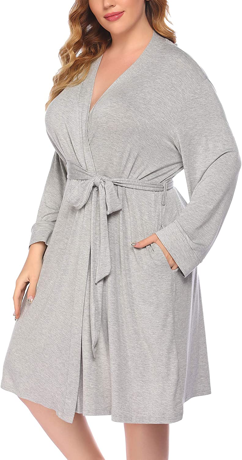Challenge the Ranking TOP16 lowest price of Japan IN'VOLAND Women Plus Size Robes Long Sleeve Bath Robe Knit Bathr
