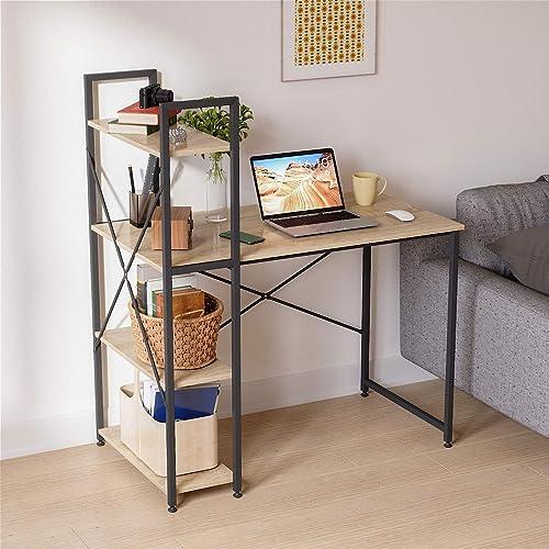 Bestier Computer Desk with Bookshelf P2 Wood (Oak, 40.5 Inch)
