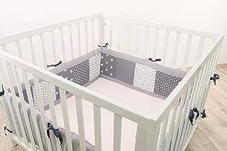 Protector para parque de ULLENBOOM ® con estrellas grises (protección de 400x30 cm para parque de bebé; chichonera para parques de juego de 100x100 cm; para todo el contorno)