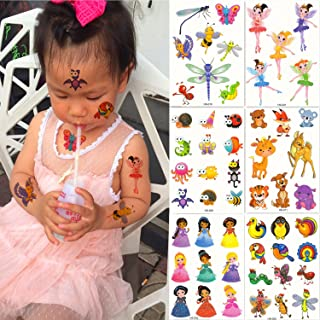 DaLin 6 Sheets Glitter Temporary Tattoos for Kids, Elves, Honeybee, Butterfly, Dragonfly, Little Fawn, Tiger and more, Perfect for Halloween