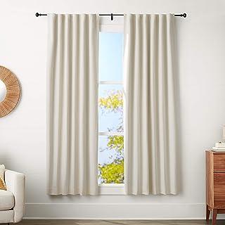 AmazonBasics 5/8-Inch Curtain Rod with Knob Finials - 48 to 88 Inch, Black