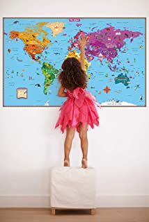 Kids' Illustrated World Wall Map Folded