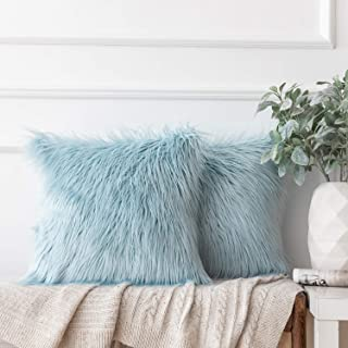 Ashler Pack of 2 Decorative Luxury Style Light Blue Faux Fur Throw Pillow Case Cushion Cover 18 x 18 Inches 45 x 45 cm