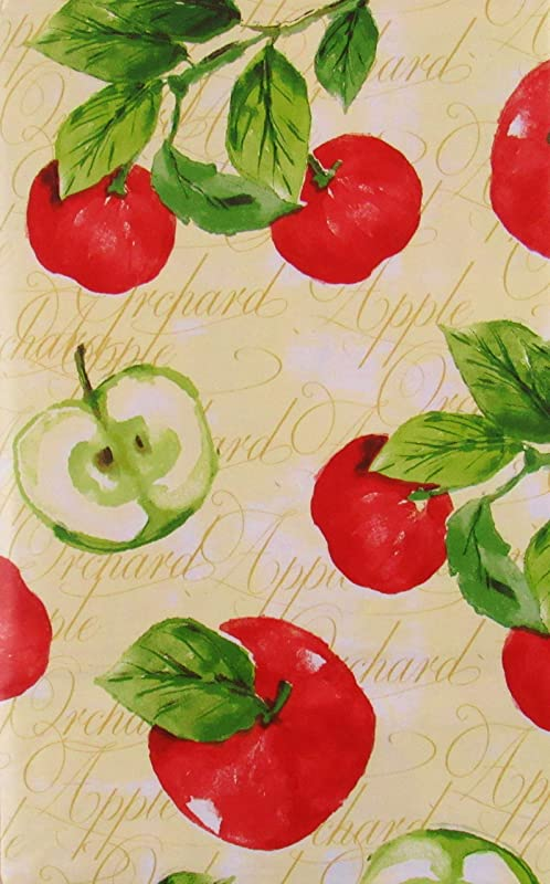 Orchard Apples Vinyl Flannel Back Tablecloth 52 X 90 Oblong