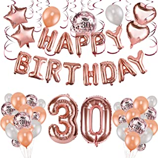 Konsait 59pack Rose Gold 30th Birthday Decorations for Women Girls 30 Birthday Party Supplies| Happy Birthday Balloon Banner Rose Gold Hanging Swirls Confetti Latex Balloons Star Foil Balloons