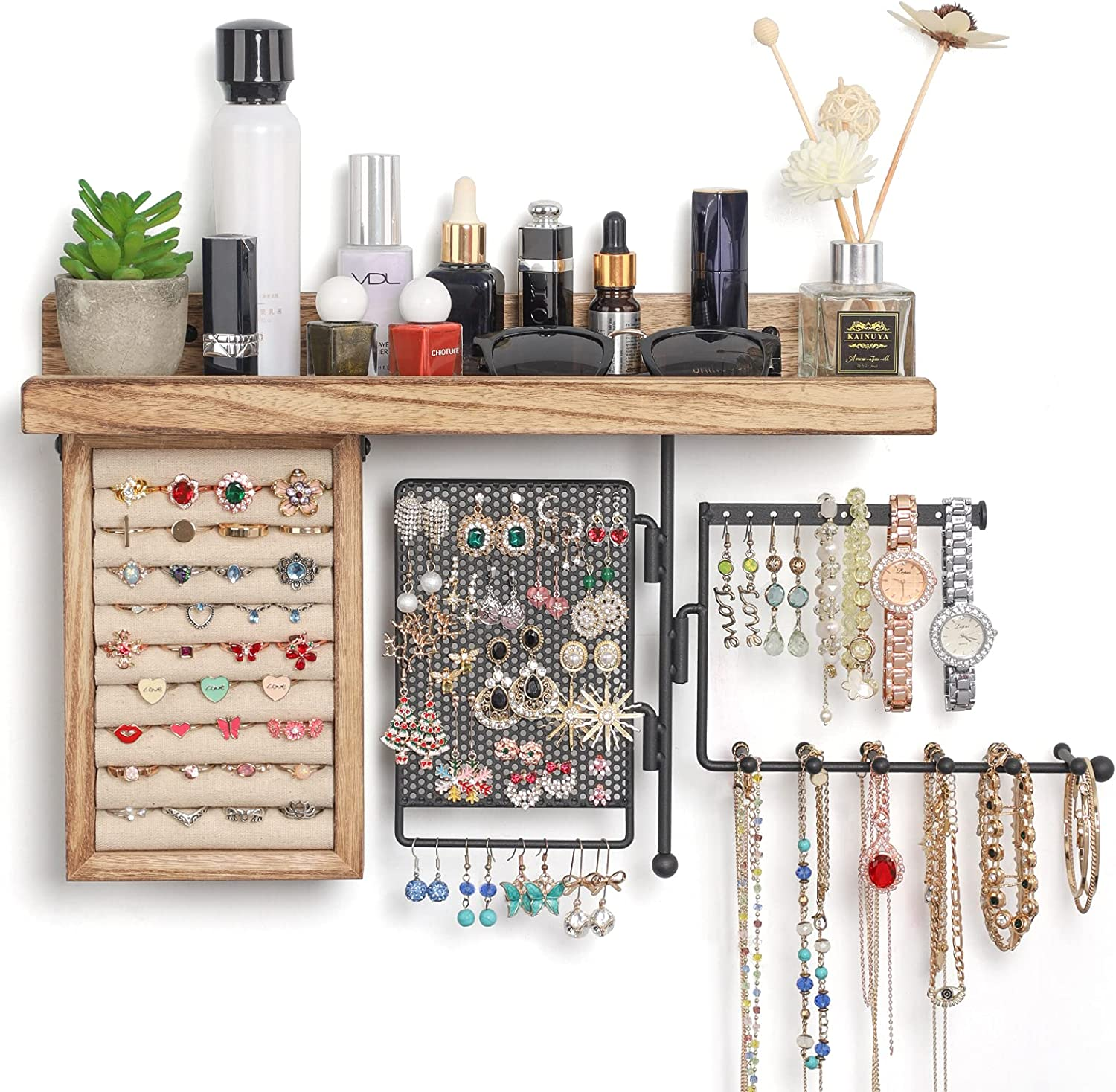 SOLIMINTR Hanging Jewelry Organizer Wall Mount Jewelry Holder with Rustic  Wood Shelf, Ring Display Box, Ear Studs Earring Holder, Rotating Necklace  ...