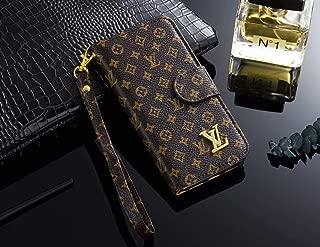 iPhone 8 Plus/7 Plus Case, Monogram Leather Luxury Wallet Case Cover for iPhone 8 Plus/7 Plus