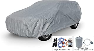 Weatherproof SUV Car Cover Compatible with Mercedes-Benz GLS-Class (GLS 350d, GLS 450, GLS 550, GLS 63 AMG) 2017-2019 - 5L Outdoor - Protect Rain, Snow, Hail, Sun - Cable Lock, Bag & Wind Straps