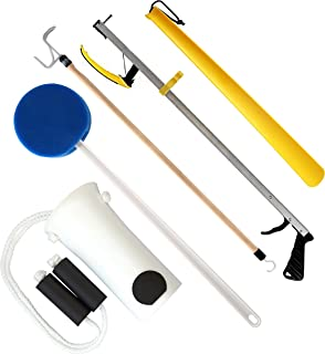 RMS Premium 5-Piece Hip Knee Replacement Kit - Total Hip Knee Equipment Kit - Ideal for Recovering from Hip Replacement, Knee or Back Surgery, Mobility Tool for Moving and Dressing (32 Inch Reacher)