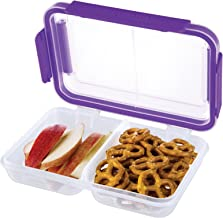 SnapLock by Progressive Split Container - Purple, Easy-To-Open, Leak-Proof Silicone Seal, Snap-Off Lid, Stackable, BPA FREE