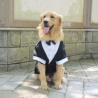Lovelonglong 宠物服装狗狗套装正式燕尾服带黑色蝴蝶结,适合大型中型小型犬猫咪服装 黑色 L-M (Medium Large Dog)