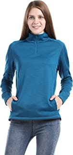 Women's 1/4 Zip Fleece Sweatshirts Slim Fit Microstripe Windproof Pullover Outdoor Running Athletic Jackets Shirts