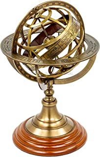 Nagina International Antique Vintage Zodiac Armillary Brass Sphere Globe Wooden Display | Pirate's Antique Ship Decor (Large, Antique Brass)