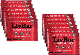 LivBar - Raspberry Kale Maca Organic Superfood Nutrition Bar - USDA Certified - Non-GMO - Gluten Free, Peanut Free, Soy Fr...