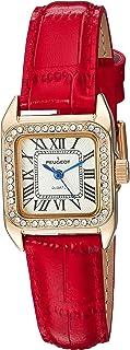 ساعة نسائية من بيجو 14 قيراط مطلية بالذهب مربعة بدون أكمام صغيرة صغيرة حمراء بسوار جلدي فاخر 3052RD