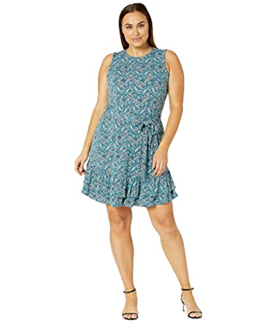 MICHAEL Michael Kors Plus Size Arabesque Ruffle Dress (Spa Blue) Women