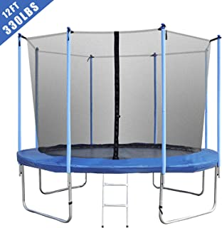 BestMassage Trampoline for Kids Fitness Trampoline with Safety Enclosure Net Ladder Jumping Mat 10/12/14/ FT