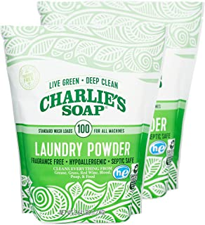 Charlie's Soap Laundry Powder (100 Loads, 2 Pack) Hypoallergenic Deep Cleaning Washing Powder Detergent – Eco-Friendly, Sa...