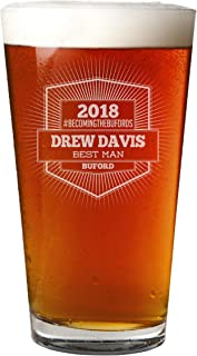 Personalized Etched 16oz Beer Soda Pint Glass Groomsmen Gifts