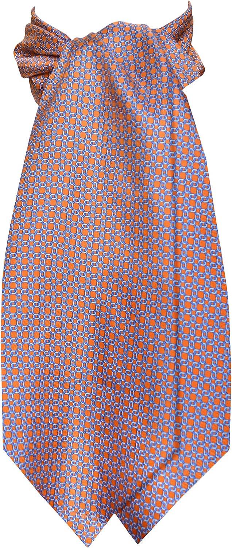 Remo Sartori Made in Italy Men's Orange Cravat Ascot Day Tie, Silk