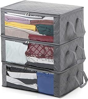 Magicfly 3PCS Sacs de Rangement Pliables Boîtes Our Vêtements Couvertures avec Grande Fenêtre Transparente, Poignées de Tr...