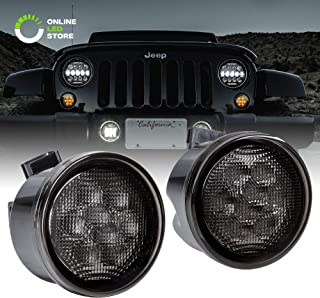 Smoked Lens Amber LED Turn Signal Light [DRL Function] [8-LED] for 2007-2018 Jeep Wrangler JK & Unlimited - Pair
