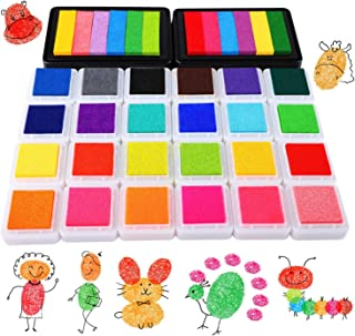HOWAF 26 Pack Tampons Encreurs pour Enfants Scrapbooking Empreintes Imprimer Tampons Encreurs, Coloré Coussins Encreurs Ta...