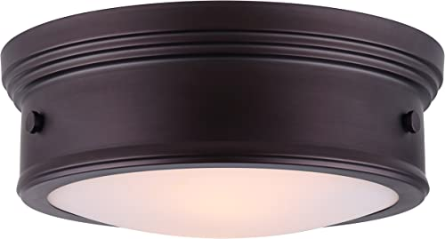 popular CANARM LTD IFM624A15ORB Boku ORB 3 outlet sale Bulb 15 Inch high quality Flush Mount Oil Rubbed Bronze with Flat Opal Glass online