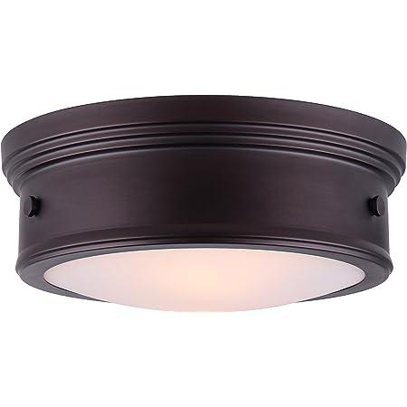 "Boku 15/"" Oil Rubbed Bronze Semi-Flush Light Fixture with Flat Opal Glass"