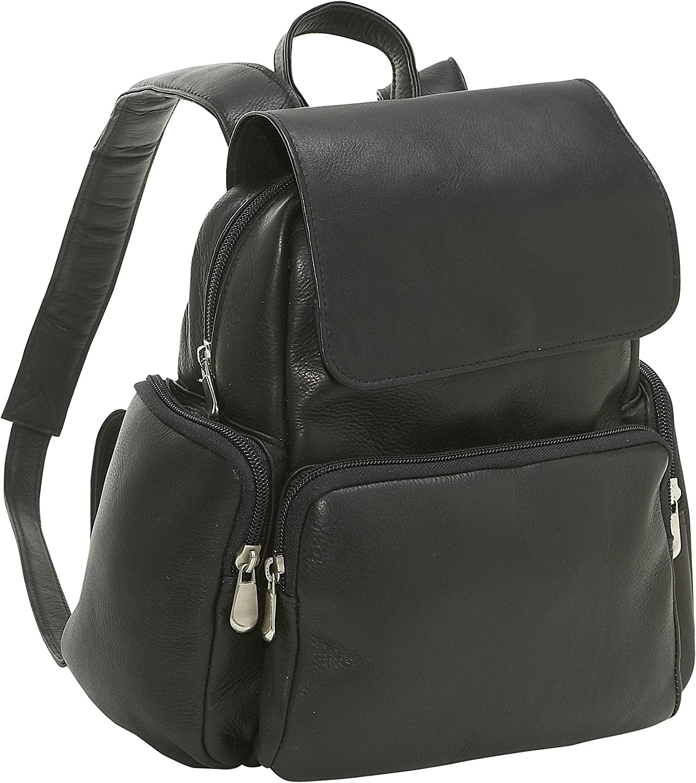 Le Donne Leather Women's Multi Pocket Back Pack Purse, Black, Medium