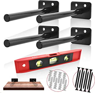 Floating Shelves Support Brackets - Home Décor, Storage, Organization - 4 x Heavy-Duty Powder Coated Stainless Steel Blind Shelf Supports - 8x Heavy-Duty Screws, 8x Drywall Anchors, BONUS Spirit Level