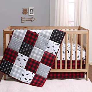 The Peanutshell Buffalo Plaid Crib Bedding Set for Boys or Girls   Woodland Theme in Red, Black, and Grey   3 Pieces - Cri...