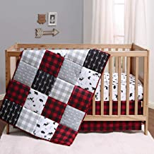 The Peanutshell Buffalo Plaid Crib Bedding Set for Boys or Girls | Red, Black, and Grey | 3 Pieces - Crib Quilt, Fitted Sh...
