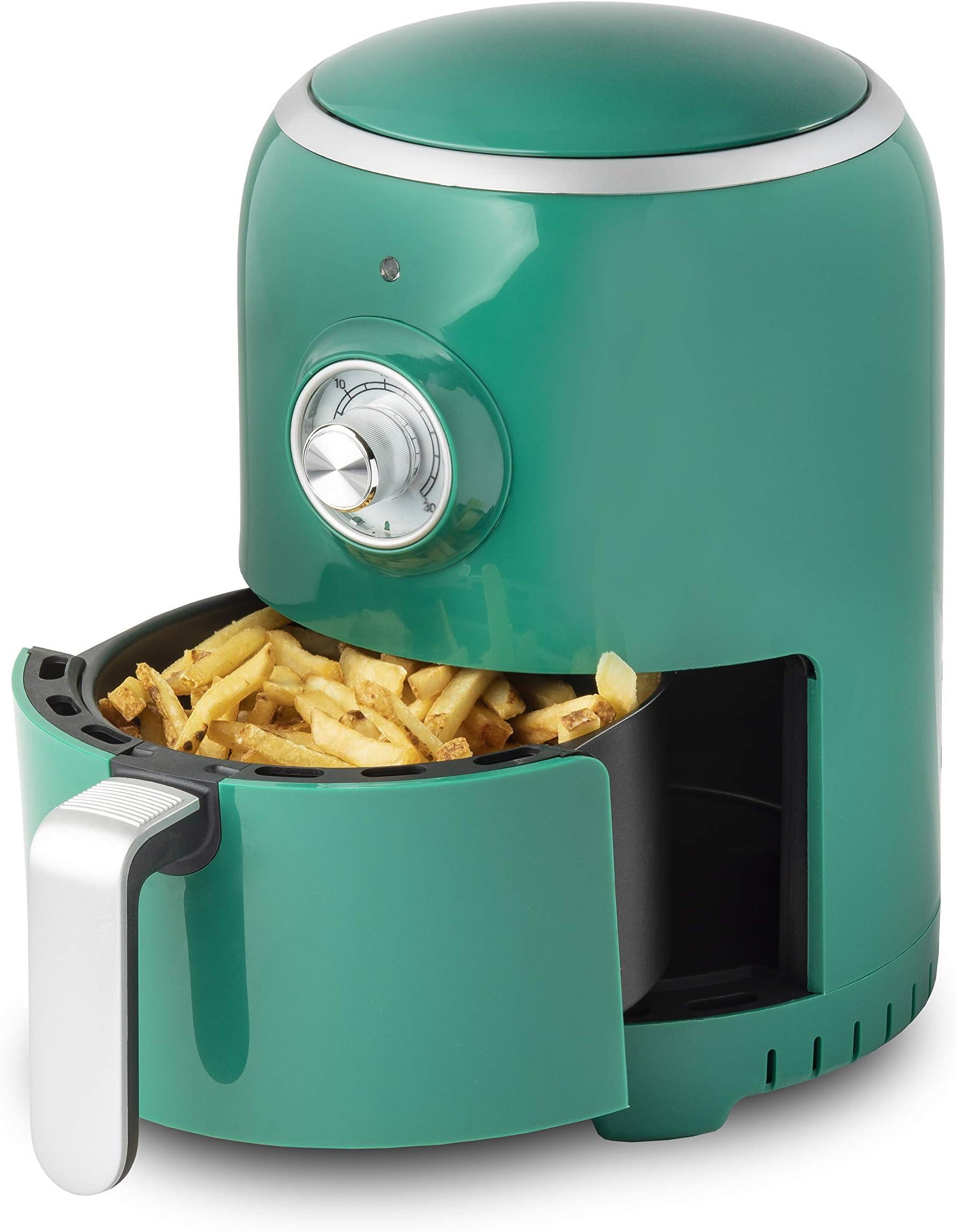 Aria Air Fryers RAG-596 Air Fryer, 2Qt, Dark Green With White Trim & Basket Handle