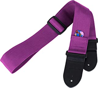 Protec Guitar Strap featuring Thick Leather Ends and Pick Pocket, Grape