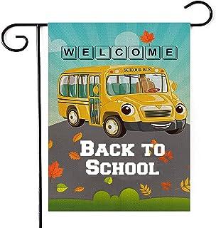 Deloky مرحبا بكم في العودة إلى المدرسة حديقة العلم - حافلة مدرسية صفراء مزدوجة الجانب ديكور ساحة الخيش العلم ، شارع حافلة ...