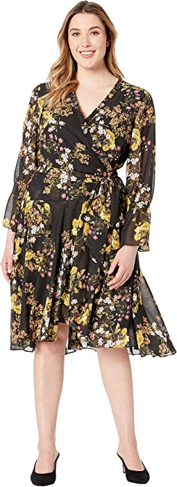 Plus Size Side Wrap Printed Chiffon Dress