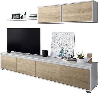 Habitdesign 0F6663A - Mueble de salón Moderno modulos Comedor Alida Acabado en Color Blanco Artik y Roble Canadian Medi...