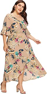 4150ebc4aff Milumia Plus Size Flounce 3 4 Sleeves Floral Print Embroidery Wrap V Neck  Waist Belted