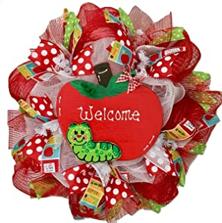 Back To School Welcome Wreath 20 inches Handmade Deco Mesh