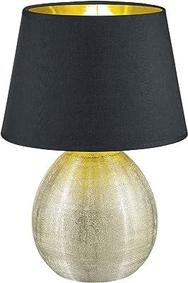 Reality, Lampe de table, Luxor 1xE27, max.60,0 W Tissu, Multicouleur, Corps: Céramique, or Ø:24,0cm, H:35,0cm IP20,Interrupteur de cordon