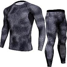zoulouyou Herren Langarm Kompressions T Shirt und Kompressions Leggings Schnelltrocknendes Fitness Base Layer Basic Unterwäsche Funktionsshirts Bodywear Trainingsanzug