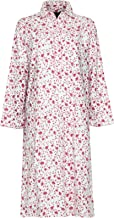 Ladies Long sleeve Warm Winter 100% Brushed Cotton Winceyette Nightdress Pink or Blue Floral Pattern on Cream 12-14, 16-18, 20-22, 24-26 (12-14, Pink on Cream)