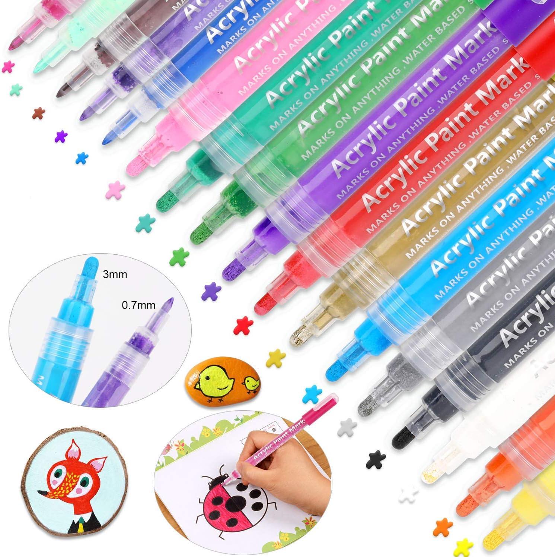 Tulsa Mall Acrylic Paint Pens HOWAF Ranking TOP18 17 Art Permanent Markers Colors