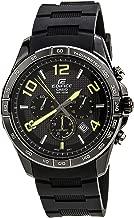 Men's Black Stainless Steel Edifice Chronograph Black Dial Black Rubber Strap