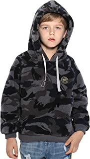 Boys Thick Fleece Hoodie Winter Camo Sherpa Lined Warm Pullover